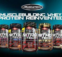 عکس معرفی پروتیین وی nitro tech از کمپانی muscletech