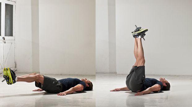 تمرین در منزل زیرشکم خوابیده پا صاف
