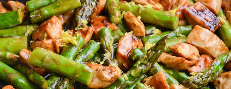asparagus sweet potato chicken skillet food photo