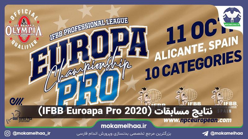 نتایج مسابقات (IFBB Euroapa Pro 2020)